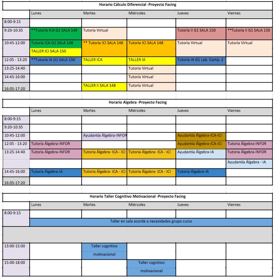 horarios facing